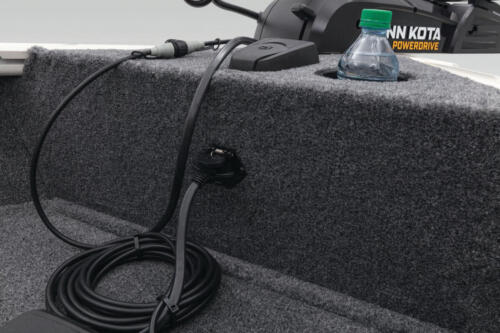 Carpeted trolling motor deck with drink holder